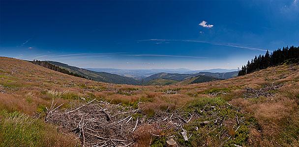 Siodło przy Malinowskiej Skale - panorama na E i S