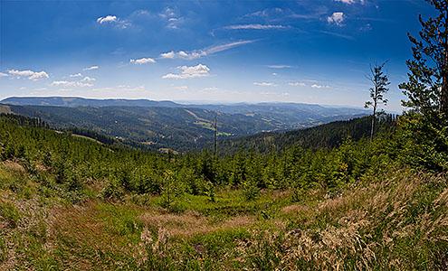 Malinów - panorama na Baranią Górę i Wisłę Malinkę
