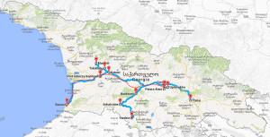 Mapa podróży po Gruzji - Google Maps